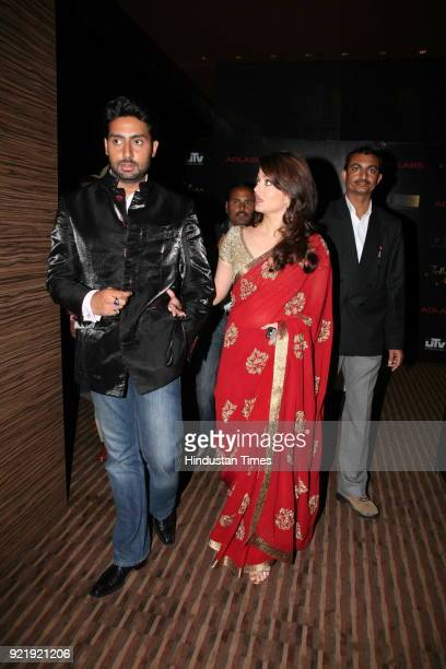 Indian actress Aishwarya Rai Bachchan along with actor Abhisekh Bachchan during the promotion of her new film 'Jodhaa Akbar' in New Delhi