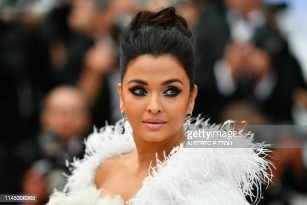 "Indian actress Aishwarya Rai Bachchan poses as she arrives for the screening of the film ""La Belle Epoque"" at the 72nd edition of the Cannes Film..."