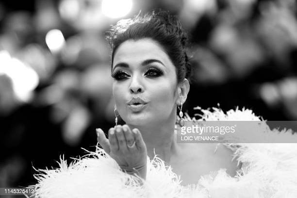 """Indian actress Aishwarya Rai Bachchan poses as she arrives for the screening of the film """"La Belle Epoque"""" at the 72nd edition of the Cannes Film..."""
