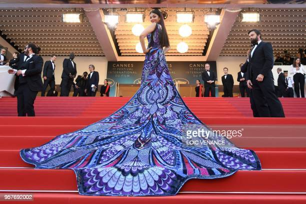TOPSHOT Indian actress Aishwarya Rai Bachchan poses as she arrives on May 12 2018 for the screening of the film 'Girls of the Sun ' at the 71st...