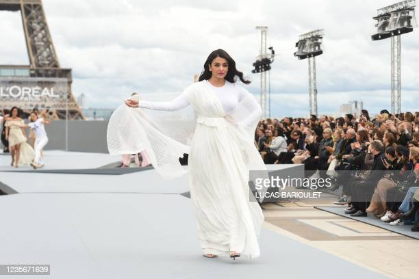 Indian actress Aishwarya Rai Bachchan presents a creation for L'Oreal on the sidelines of the Paris Fashion Week Spring-Summer 2022 Ready-to-Wear...