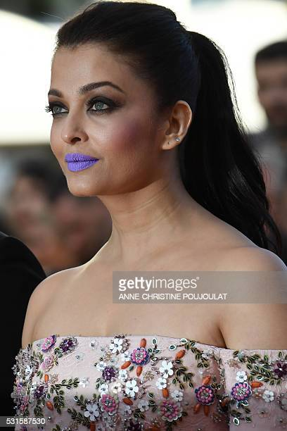 Indian actress Aishwarya Rai poses as she arrives on May 15 2016 for the screening of the film 'Mal de Pierres ' at the 69th Cannes Film Festival in...