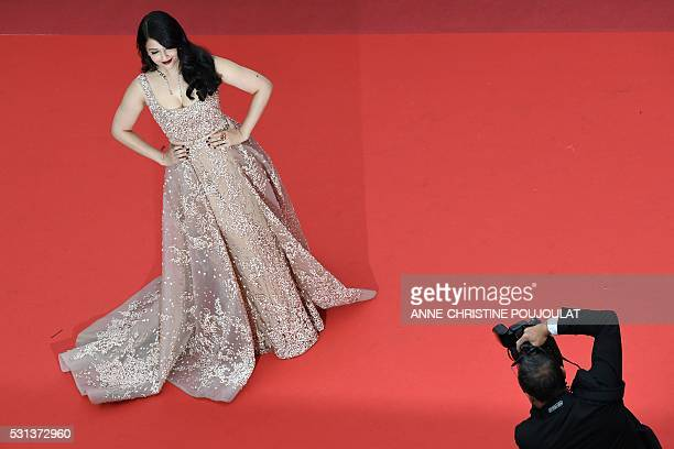 TOPSHOT Indian actress Aishwarya Rai poses on May 14 2016 as she arrives for the screening of the film The BFG at the 69th Cannes Film Festival in...