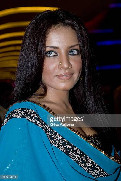 Indian actress and former Miss India Celina Jaitley attends the premiere of 'Welcome to Sajjanpur' at Cinemax Versova on September 18 2008 in Mumbai...