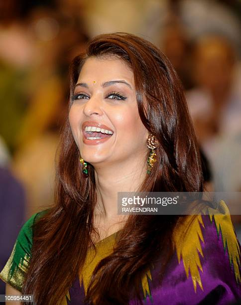 Indian actress and former Miss World Aishwarya Rai Bachchan smiles as she attends the 57th National Film Awards Function in New Delhi on October 22...