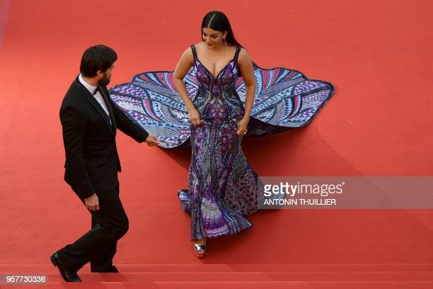 Indian actress and model Aishwarya Rai Bachchan arrives on May 12 2018 for the screening of the film 'Girls of the Sun ' at the 71st edition of the...