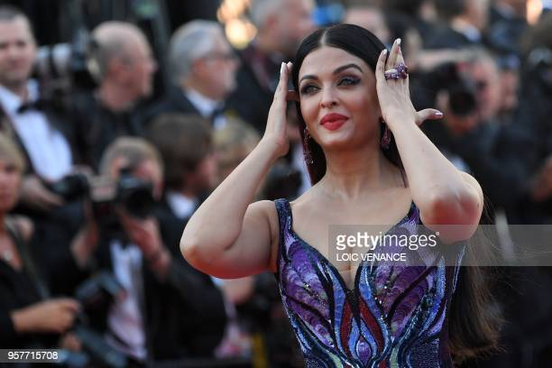 Indian actress and model Aishwarya Rai Bachchan poses as she arrives on May 12 2018 for the screening of the film 'Girls of the Sun ' at the 71st...