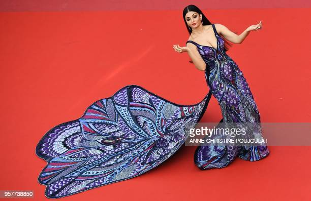 TOPSHOT Indian actress and model Aishwarya Rai Bachchan poses as she arrives on May 12 2018 for the screening of the film 'Girls of the Sun ' at the...