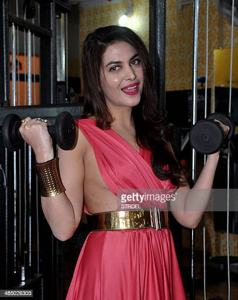 Indian actress and model Ankita Shorey poses during the launch of a gym in Mumbai on April 15 2014 AFP PHOTO/STR