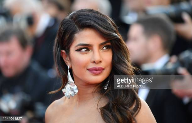 "Indian actress and model Priyanka Chopra poses as she arrives for the screening of the film ""5B"" at the 72nd edition of the Cannes Film Festival in..."