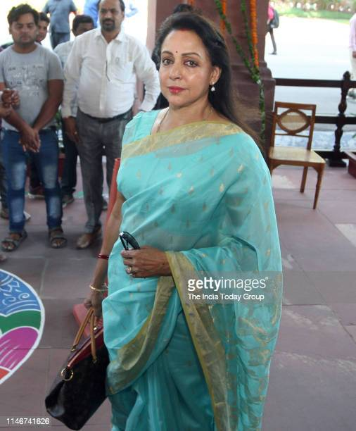 Indian Actress and Politician Hema Malini arrives at the Parliament in New Delhi