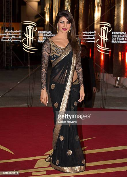 Indian actress and singer Priyanka Chopra attends the closing ceremony at 12th International Marrakech Film Festival on December 8 2012 in Marrakech...