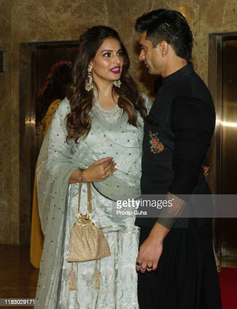 Indian actress Bipasha Basu and husband Karan Singh Grover attends the film producer Ramesh Taurani's Diwali bash on October 23, 2019 in Mumbai,...
