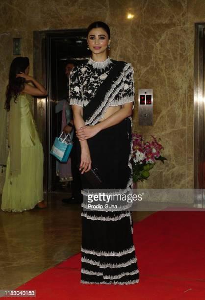 Indian actress Daisy Shah attends the film producer Ramesh Taurani diwali bash on October 23 2019 in Mumbai India
