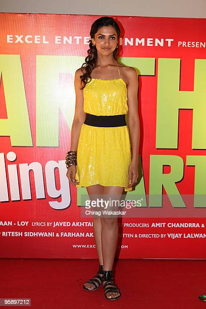 Indian actress Deepika Padukone attends the launch of the Soundtrack for 'Karthik Calling Karthink' held at Cinemax on January 20 2010 in Mumbai India