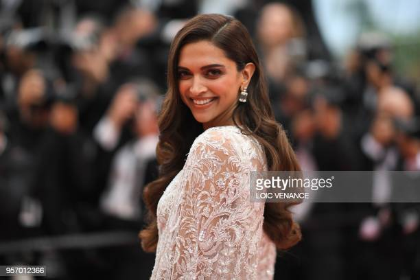 TOPSHOT Indian actress Deepika Padukone poses as she arrives on May 10 2018 for the screening of the film Sorry Angel at the 71st edition of the...