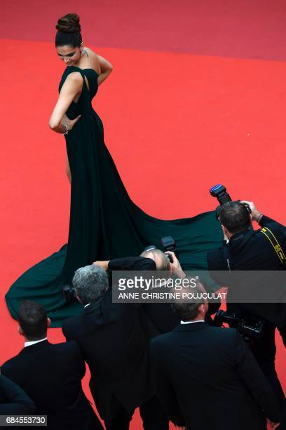 Indian actress Deepika Padukone poses as she arrives on May 18 2017 for the screening of the film 'Loveless' at the 70th edition of the Cannes Film...