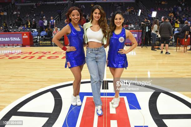 Indian actress Disha Patani poses for a photo with the LA Clippers dancers before the game against the Los Angeles Lakers on January 31 2019 at...