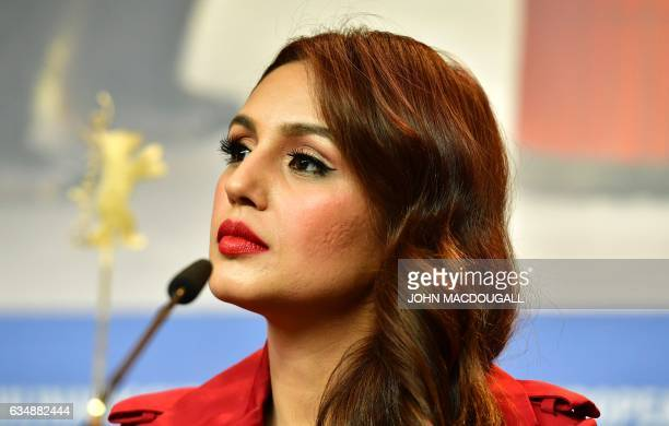 Indian actress Huma Qureshi attends a press conference for the film Viceroys House in competition at the 67th Berlinale film festival in Berlin on...