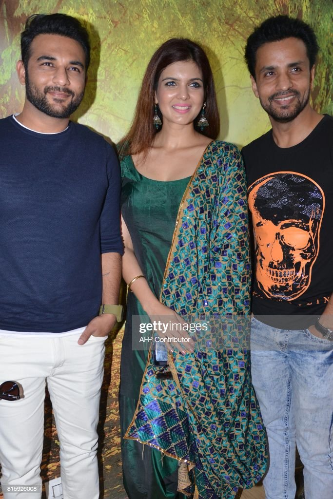 Indian actress Ihana Dhillon actor Harish Verma and comedian Rajiv Thakur pose during a promotional event for the upcoming Punjabi film `Thug Life`...
