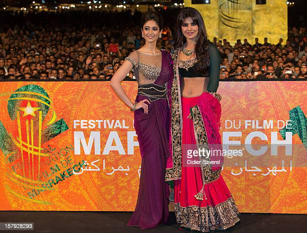 Indian actress Ileana D'Cruz and actress and singer Pryanka Chopra performs at Place Jemaa el Fna during the 12th International Marrakech Film...