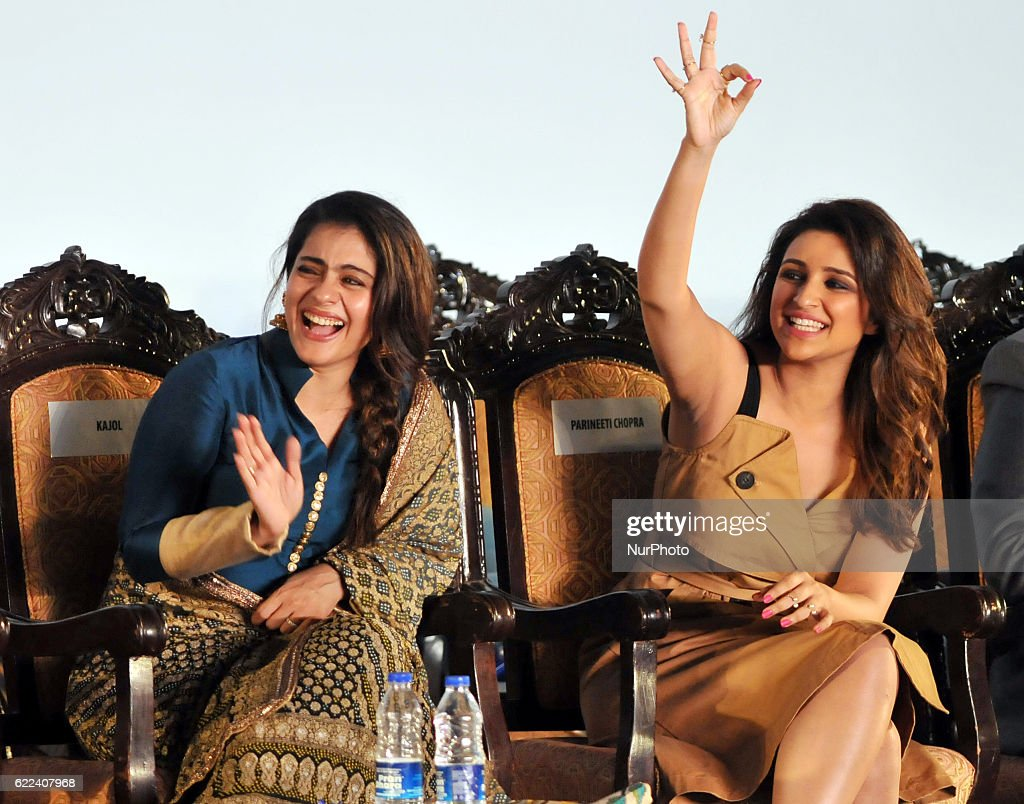 Indian actress Kajol and Actress Parineeti Chopra during the 22nd Kolkata International Film Festival Inauguration ceremony at Kolkata Netaji Indoor..