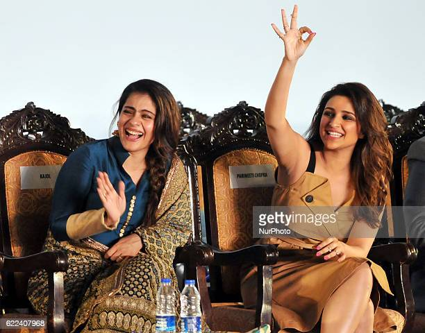 Indian actress Kajol and Actress Parineeti Chopra during the 22nd Kolkata International Film Festival Inauguration ceremony at Kolkata Netaji Indoor...