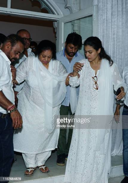 Indian actress kajol and late Veeru Devgan's Wife attends a prayer meet for the late Bollywood stunt choreographer and film director Veeru Devgan on...