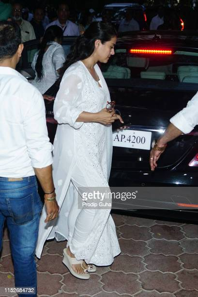 Indian actress kajol attends a prayer meet for the late Bollywood stunt choreographer and film director Veeru Devgan on May 30 2019 in Mumbai India