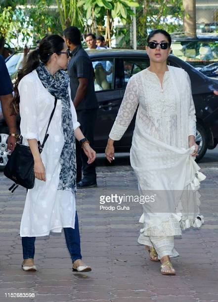 Indian actress Kareena Kapoor and her sister Karishma Kapoor attends a prayer meet for the late Bollywood stunt choreographer and film director Veeru...