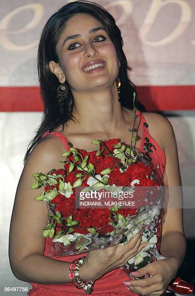 Indian actress Kareena Kapoor poses during the launch of a Celebration Range of personal wash products and a special 2006 calendar in Mumbai 29...