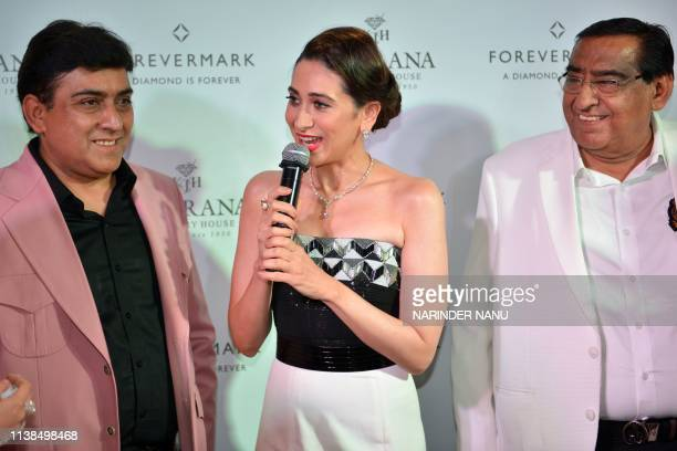Indian actress Karisma Kapoor speaks during a promotional event for the jewellery brand 'Forevermark' launch at Khurana Jewellery House in Amritsar...