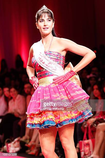 Indian actress Katrina Kaif walks the runway at the Barbie All Doll'd up show at Lakme India Fashion Week Autumn/Winter 2009 at Grand Hyatt on March...