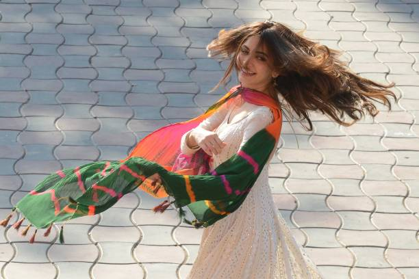 Indian actress Kriti Kharbanda performs a dance on the set of the forthcoming Bollywood film `Yamla Pagla Deewana 3` in Amritsar on November 22 2017..