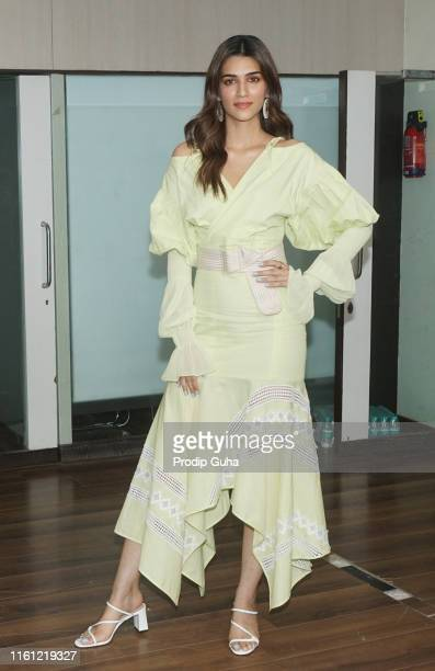 Indian actress Kriti Sanon attends the media interactions for promoting the upcoming film Arjun PatialaJuly 10 2019 in Mumbai India