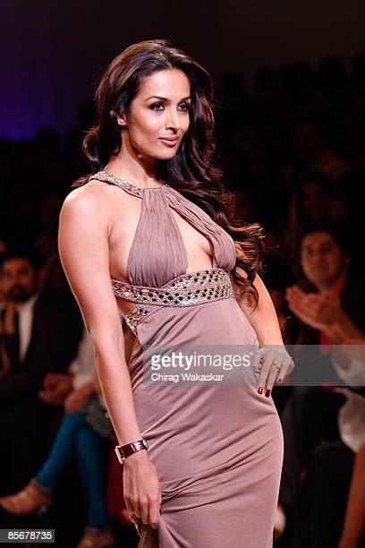 Indian actress Malaika Arora Khan walks the runway at the Mai Mumbai show at Lakme India Fashion Week Autumn/Winter 2009 at Grand Hyatt on March 28...