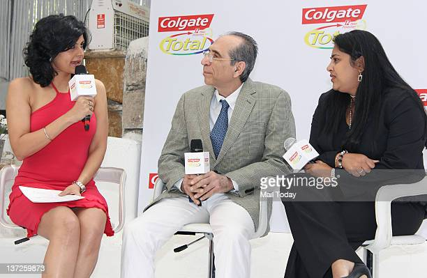 Indian actress Mandira Bedi Porus Turner and Rekha Rao VP Marketing Colgate Palmolive pose as part of the Colgate total campaigning for 'Healthy...