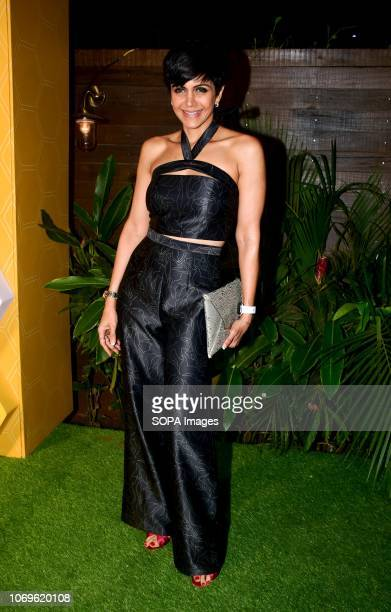 Indian actress Mandira Bedi seen posing for a picture at Bumble's India launch party at Soho House Juhu In Mumbai Bumble is a new Social Networking...