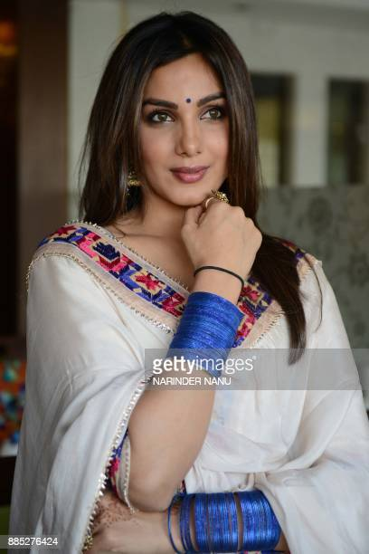 Indian actress Monica Gill poses during a promotional event for the upcoming Punjabi film 'Sat Shri Akaal England' at an hotel in Amritsar on...
