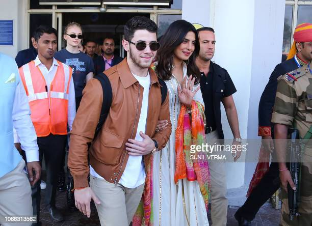 Indian actress Priyanka Chopra and US musician Nick Jonas arrive in Jodhpur in the western Indian state of Rajasthan on November 29 as friend of the...