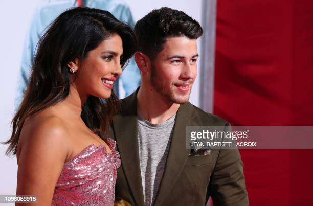 "Indian actress Priyanka Chopra and US singer Nick Jonas attend the premiere of ""Isn't It Romantic"" in Los Angeles on February 11, 2019."