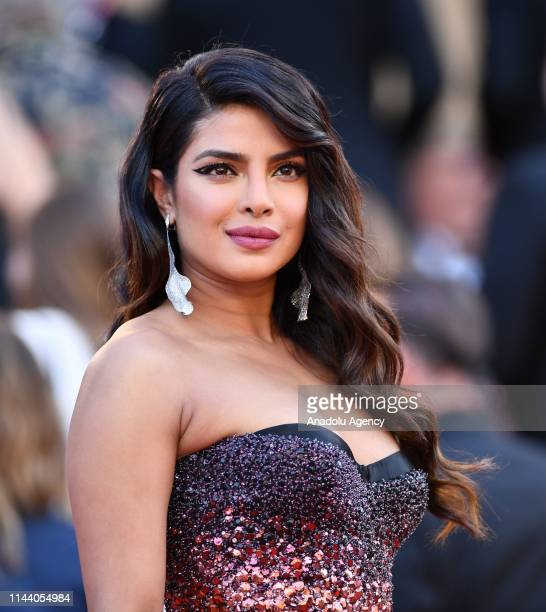 Indian actress Priyanka Chopra arrives for the screening of the film 'Rocketman' during the 72nd annual Cannes Film Festival in Cannes France on May...
