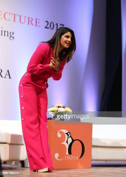 Indian actress Priyanka Chopra attends the Penguin Annual Lecture 2017 organized by Penguin Random House India in New Delhi on December 26 2017 / AFP...