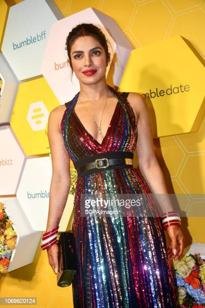 Indian actress Priyanka Chopra seen posing for a picture at Bumble's India launch party at Soho House Juhu In Mumbai Bumble is a new Social...