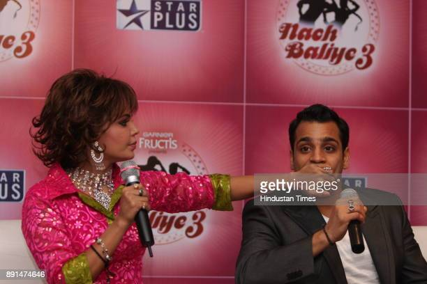 Indian actress Rakhi Shawant along with her boyfriend Abhishek Awasthi during the promotion of Nach Baliye 3 in New Delhi
