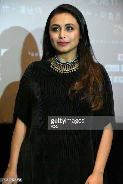 Indian actress Rani Mukerji attends an activity of movie 'Hichki' on October 9, 2018 in Shanghai, China.
