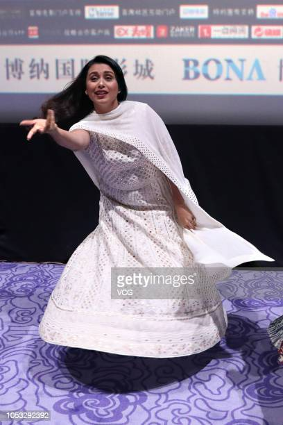 Indian actress Rani Mukerji attends the media preview of film 'Hichki' on October 10 2018 in Shenzhen Guangdong Province of China