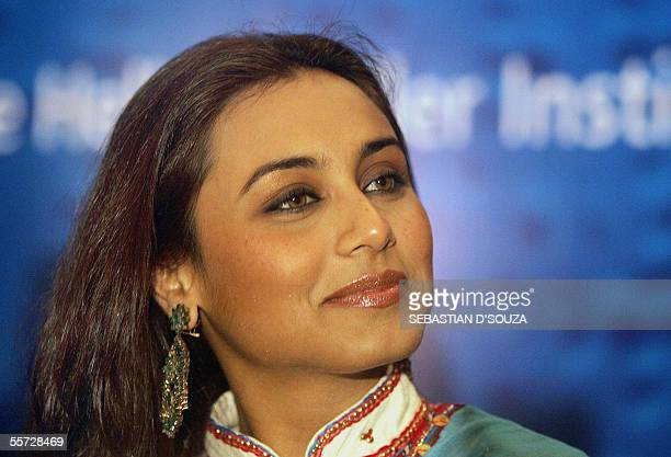 Indian actress Rani Mukherji smiles at the announcement of 'Inflight Safety Instruction Manual in Braille' in Mumbai 20 September 2005 The 72 page...