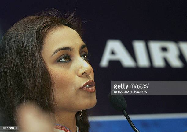 Indian actress Rani Mukherji speaks during the announcement of 'Inflight Safety Instruction Manual in Braille' in Mumbai 20 September 2005 The 72...