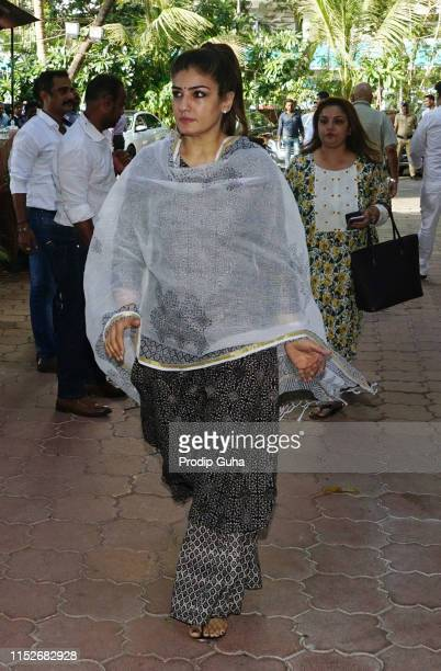 Indian actress Raveena Tandon attends a prayer meet for the late Bollywood stunt choreographer and film director Veeru Devgan on May 30 2019 in...